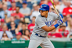 29 June 2017: Chicago Cubs infielder Jeimer Candelario at bat in the 9th inning against the Washington Nationals at Nationals Park in Washington, DC. The Cubs rallied to defeat the Nationals 5-4 and split their 4-game series. Mandatory Credit: Ed Wolfstein Photo *** RAW (NEF) Image File Available ***
