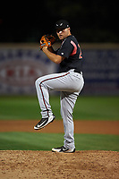 Lake Elsinore Storm relief pitcher David Bednar (24) delivers a pitch during a California League game against the Rancho Cucamonga Quakes at LoanMart Field on May 19, 2018 in Rancho Cucamonga, California. Lake Elsinore defeated Rancho Cucamonga 10-7. (Zachary Lucy/Four Seam Images)