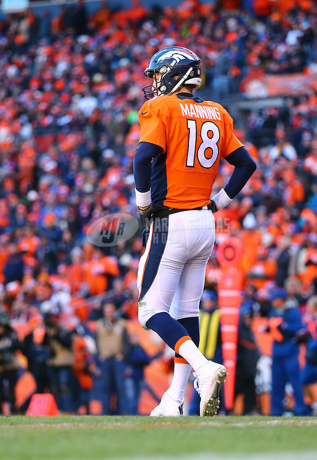 Jan 17, 2016; Denver, CO, USA; Denver Broncos quarterback Peyton Manning (18) reacts against the Pittsburgh Steelers during the AFC Divisional round playoff game at Sports Authority Field at Mile High. Mandatory Credit: Mark J. Rebilas-USA TODAY Sports