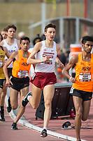 NWA Democrat-Gazette/BEN GOFF @NWABENGOFF<br /> Sam Schillinger of Arkansas runs in the men's 3,000 meter run Friday, April 12, 2019, at the John McDonnell Invitational at John McDonnell field in Fayetteville.
