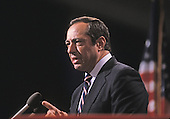 In this file photo from July 16, 1984, then-Governor Mario Cuomo (Democrat of New York) delivers the keynote speech at the 1984 Democratic National Convention at the Moscone Center in San Francisco, California.  Cuomo passed away in New York, New York on January 1, 2015 at age 82.<br /> Credit: Arnie Sachs / CNP