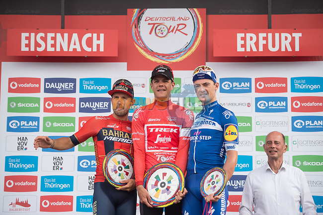 Final overall podium winner Jasper Stuyven (BEL) Trek-Segafredo, 2nd Sonny Colbrelli (ITA) Team Bahrain-Merida and 3rd Yves Lampaert (BEL) Deceuninck-Quick Step at the end of Stage 4 of the Deutschland Tour 2019, running 159.5km from Eisenach to Erfurt, Germany. 1st September 2019.<br /> Picture: Mario Stiehl   Cyclefile<br /> All photos usage must carry mandatory copyright credit (© Cyclefile   Mario Stiehl)