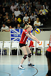 Rüsselsheim, Germany, April 13: Jennifer Geerties #15 of the Rote Raben Vilsbiburg vies during play off Game 1 in the best of three series in the semifinal of the DVL (Deutsche Volleyball-Bundesliga Damen) season 2013/2014 between the VC Wiesbaden and the Rote Raben Vilsbiburg on April 13, 2014 at Grosssporthalle in Rüsselsheim, Germany. Final score 0:3 (Photo by Dirk Markgraf / www.265-images.com) *** Local caption ***