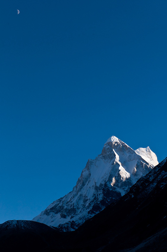 "Shivling - the ""Indian Matterhorn"" - towers to the south of the source of the Ganges."