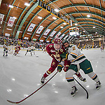 20 February 2016: Boston College Eagle Forward Ryan Fitzgerald, a Junior from North Reading, MA, battles University of Vermont Catamount Forward Conor O'Neil, a Freshman from Hummelstown, PA, for the puck during the first period at Gutterson Fieldhouse in Burlington, Vermont. The Eagles defeated the Catamounts 4-1 in the second game of their weekend series. Mandatory Credit: Ed Wolfstein Photo *** RAW (NEF) Image File Available ***