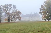France, Loir-et-Cher (41), Cellettes, Château de Beauregard et parc, vue depuis le sud