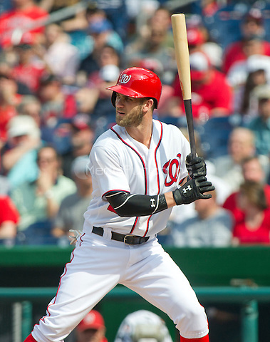 Washington Nationals right fielder Bryce Harper (34) bats in the first inning against the Chicago Cubs at Nationals Park in Washington, D.C. on Wednesday, June 15, 2016.<br /> Credit: Ron Sachs / CNP/MediaPunch