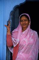 Asie/Inde/Rajasthan/Jaipur: Quartier d'Indra Market - Portrait de femme