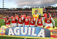 BOGOTA -COLOMBIA, 4-03-2017. Team of Independiente Santa Fe. Action game between Independiente Santa Fe and  Patriotas FC  during match for the date 8 of the Aguila League I 2017 played at Nemesio Camacho El Campin stadium . Photo:VizzorImage / Felipe Caicedo  / Staff