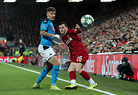 Liverpool's Andrew Robertson battles with Napoli's Giovanni Di Lorenzo <br /> <br /> Photographer Alex Dodd/CameraSport<br /> <br /> UEFA Champions League Group E - Liverpool v Napoli - Wednesday 27th November 2019 - Anfield - Liverpool<br />  <br /> World Copyright © 2018 CameraSport. All rights reserved. 43 Linden Ave. Countesthorpe. Leicester. England. LE8 5PG - Tel: +44 (0) 116 277 4147 - admin@camerasport.com - www.camerasport.com
