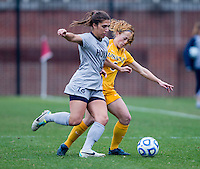 Venessa Skrumbis (13) of Georgetown fights for the ball with Ashley Chilcoat (6) of La Salle during the first round of the NCAA tournament at Shaw Field in Washington, DC.  Georgetown defeated La Salle, 2-0.