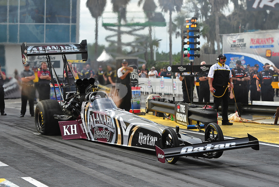 Mar. 9, 2012; Gainesville, FL, USA; NHRA top fuel dragster driver Shawn Langdon during qualifying for the Gatornationals at Auto Plus Raceway at Gainesville. Mandatory Credit: Mark J. Rebilas-