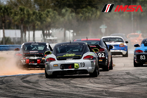 15-18 March, 2016, Sebring, Florida, USA<br /> , 17, Porsche, Cayman, ST, Nick Galante, Spencer Pumpelly, 19, Porsche, Cayman, ST, Connor Bloum, Greg Strelzoff, 22, Porsche, Cayman, ST, Kris Wright, Andy Lee<br /> &copy;2016, Michael L. Levitt<br /> LAT Photo USA