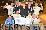 Tralee Rugby Club presented a cheque for ?3,155 to Crumlin's Childrens Hospital at the Mall Tavern on Thursday. The money was raised through their ''Bald or Blue'' event last month. Pictured presenting the cheque are, front row: Darryl Vesey, Fearghal O'Nualláin, Liam Gannon and O'Nualláin (organiser). Back row: Edward Nolan, Leslie Benner ( Tralee Rugby Club president), Jerry Cully (Crumlin's Children Hospital), Jim O'Connor and Eoin O'Carroll.