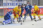 Luke Adam (Nr.19 - Duesseldorfer EG), Dustin Friesen (Nr.14 - ERC Ingolstadt) und Jerry DAmigo (Nr.9 - ERC Ingolstadt) vor Torwart Jochen Reimer (Nr.32 - ERC Ingolstadt) beim Spiel in der DEL, ERC Ingolstadt (dunkel) - Duesseldorfer EG (hell).<br /> <br /> Foto © PIX-Sportfotos *** Foto ist honorarpflichtig! *** Auf Anfrage in hoeherer Qualitaet/Aufloesung. Belegexemplar erbeten. Veroeffentlichung ausschliesslich fuer journalistisch-publizistische Zwecke. For editorial use only.