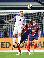 ARLINGTON, TEXAS - Saturday July 22, 2017: Jordan Morris #8 of USMNT moves the ball down field against the Costa Rica National Team in the second half of the match at AT&T Stadium.