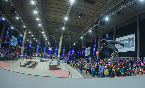 25.02.2016. Warehouse 13  Oslo, Norway.  X Games Oslo 2016. Mens Skateboard final. Luan Oliveira of Brazil competes in the men's skateboard street final  during the X Games Oslo 2016 at the warehouse 13  in Oslo, Norway.