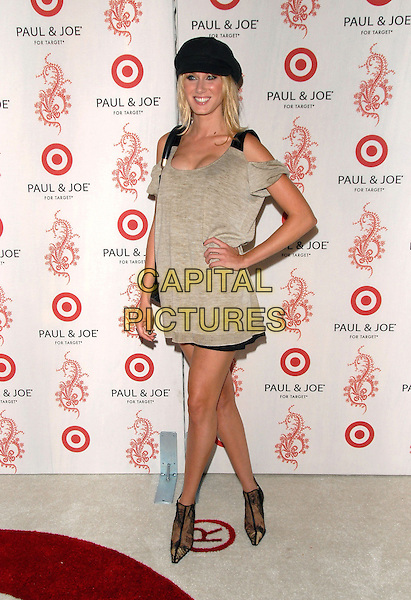 KIMBERLY STEWART.Sophie Albou's Paul & Joe Collection for The Opening of Target Temporary Boutique on Melrose in Beverly Hills, California, USA..July 27th, 2006.Ref: DVS.full length black hat purse bag grey gray dress hand on hip ankle boots .www.capitalpictures.com.sales@capitalpictures.com.©Debbie VanStory/Capital Pictures