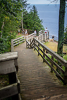 Ellison Bluff Park offers one of the most breathtaking views in Door County Wisconsin.  A wooden walkway leads to the edge of a 100 limestone bluff overlooing Green Bay.