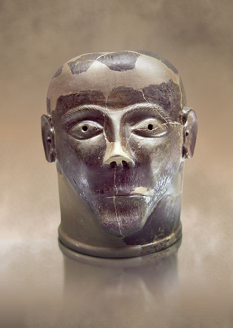 6th century B.C clay head made in Chiusi, inv 94619, National Archaeological Museum Florence, Italy
