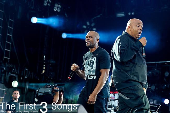 "Darryl ""D.M.C."" McDaniels and Joseph ""Run"" Simmons of Run-DMC perform during Day 2 of the Made in America Music Fesival in Philadelphia, Pennsylvania."