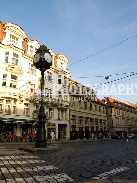 Clock and Street in Prague, Czech Republic