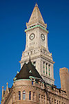 The Custom House tower and the Flour & Grain Exchange buildings in the Financial District of Boston, MA, USA