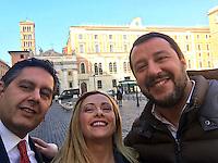 Roma 25-01-2017. Piazza San Silvestro. Selfie con Giovanni Toti, Giorgia Meloni e Matteo Salvini, in attesa delle manifestazione di sabato.<br /> Foto Ufficio Stampa Fratelli d'Italia/Insidefoto