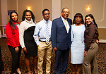 WATERBURY, CT - 19 MAY - 051918JW20.jpg --  Evelyn Lopez, Ashley Lamb, Perry Pierce, Oscar Pierce, Cassandra Fann-Pierce and Felicity Samolis pose for a photo during the National Congress of Black Women scholarship awards luncheon at La Bella Vista Saturday Afternoon.  Jonathan Wilcox Republican-American