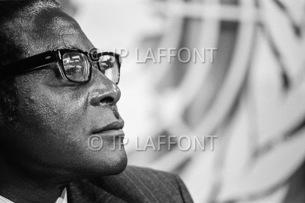 14 Mar 1978 --- Prime Minister of Zimbabwe-Rhodesia Robert Mugabe during a UN conference on Rhodesia. Zimbabwe-Rhodesia was the official name of Zimbabwe between 1st June and 12 December 1979. --- Image by © JP Laffont
