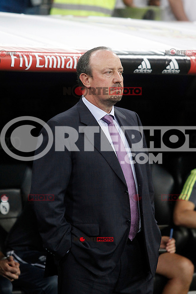 Real Madrid's coach Rafa Benitez during XXXVI Santiago Bernabeu Trophy. August 18,2015. (ALTERPHOTOS/Acero)