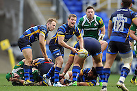Charlie Mulchrone of Worcester Warriors passes the ball. Aviva Premiership match, between London Irish and Worcester Warriors on February 7, 2016 at the Madejski Stadium in Reading, England. Photo by: Patrick Khachfe / JMP