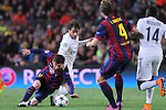 21.04.2015 Barceloona. UEFA Champions League, Quarter-finals 2nd leg. Picture show Leo Messi (L) and Maxwell (R) in action during game between FC Barcelona against Paris Saint-Germain at Camp Nou