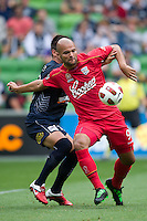 MELBOURNE, AUSTRALIA - JANUARY 09: Sergio van Dijk of United prepares to kick the ball during the round 22 A-League match between the Melbourne Victory and Adelaide United at AAMI Park on January 9, 2011 in Melbourne, Australia. (Photo by Sydney Low / Asterisk Images)