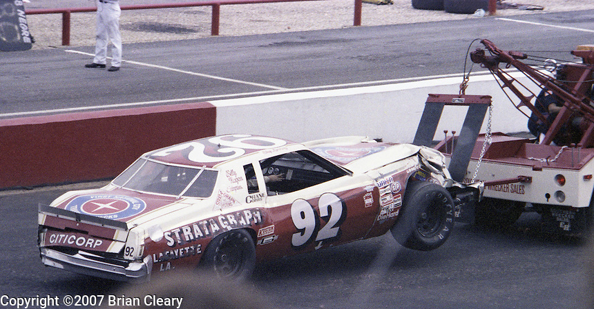 Skip Manning #92 Chevrolet Monte Carlo wrecker 38th place finish Southern 500 Darlington Raceway, Darlington SC, September 5, 1977.(Photo by Brian Cleary/www.bcpix.com)