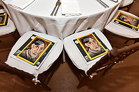 "NEW YORK CITY - APRIL 20: National Geographic magazines placed on guest chairs at the  Sotheby's lunch and private preview of works by Picasso in conjunction with the National Geographic show ""Genius: Picasso"" at Sotheby's on April 20, 2018 in New York City. (Photo by Anthony Behar/ National Geographic/PictureGroup)"