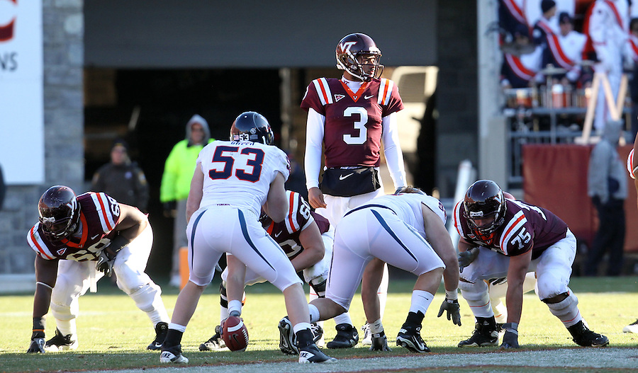 Nov 27, 2010; Charlottesville, VA, USA;  Virginia Tech Hokies quarterback Logan Thomas (3) during the game against the Virginia Cavaliers at Lane Stadium. Virginia Tech won 37-7. Mandatory Credit: Andrew Shurtleff-