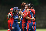 Rubina Chhetry Belbashi and Sabnam Rai of Nepal celebrate during their ICC 2016 Women's World Cup Asia Qualifier match between China and Nepal  on 11 October 2016 at the Kowloon Cricket Club in Hong Kong, China. Photo by Marcio Machado / Power Sport Images