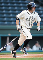 Outfielder James Foster (24) of the Wofford College Terriers in a game against the Presbyterian College Blue Hose on March 8, 2012, at Fluor Field in Greenville, South Carolina. (Tom Priddy/Four Seam Images)