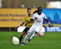 Marvin Emnes of Swansea and Chris Maguire of Oxford United   during the Emirates FA Cup 3rd Round between Oxford United v Swansea     played at Kassam Stadium  on 10th January 2016 in Oxford