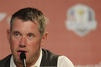 Lee Westwood speaking to the media after practice on Thursday ahead of the Ryder Cup, Hazeltine national Golf Club, Chaska, Minnesota, USA.  29/09/2016<br /> Picture: Golffile | Fran Caffrey<br /> <br /> <br /> All photo usage must carry mandatory copyright credit (&copy; Golffile | Fran Caffrey)