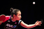 Ying Hang of Germany vs Mima Ito of Japan in action at their Women's Singles Round of 16 match during the Seamaster Qatar 2016 ITTF World Tour Grand Finals at the Ali Bin Hamad Al Attiya Arena on 9 December 2016, in Doha, Qatar. Photo by Victor Fraile / Power Sport Images