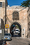A gateway on Lions' Gate Street in the Muslim Quarter of the Old City of Jerusalem.  The Old City of Jerusalem and its Walls is a UNESCO World Heritage Site.