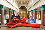 Mayor of Limerick Cllr Kathleen Leddin presented  her Mayoral Robe to Limerick Museum our picture shows Mayor of Limerick Kathleen Leddin presenting her Robe to Limerick Museum Curator Brian Hodkinson in the Franciscan Church Limerick.<br /> Picture  Credit Brian Gavin Press 22