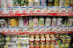 """Tokyo, Japan - Colorful canned alcoholic drinks are seen at a store in Tokyo. Chu-hi, which is a type of a alcoholic drink, is a favorite among many Japanese people. The name, """"Chu-hi"""" is a derived form of a combination of """"shochu and highball."""" Chu-hi companies often launch limited edition themed drinks to celebrate the different seasons in Japan. (Photo by Yumeto Yamazaki/AFLO)"""