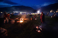 Gladiators of Gruppo Storico Romano at their tent camp at the South Tyrolean Knight Games in Sluderno.