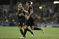 1st November 2019; Leichhardt Oval, Sydney, New South Wales, Australia; A League Football, Sydney Football Club versus Newcastle Jets; Matthew Millar of Newcastle Jets is congratulated by Jason Hoffman of Newcastle Jets after scoring a goal to make it 1-1 - Editorial Use