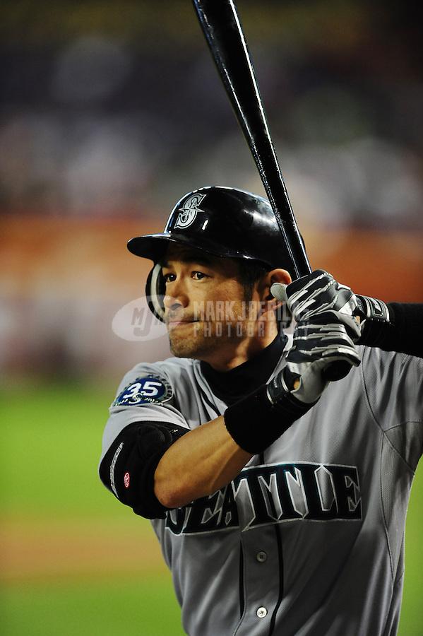 Jun. 20, 2012; Phoenix, AZ, USA; Seattle Mariners outfielder Ichiro Suzuki prepares to bat in the first inning against the Arizona Diamondbacks at Chase Field.  Mandatory Credit: Mark J. Rebilas-