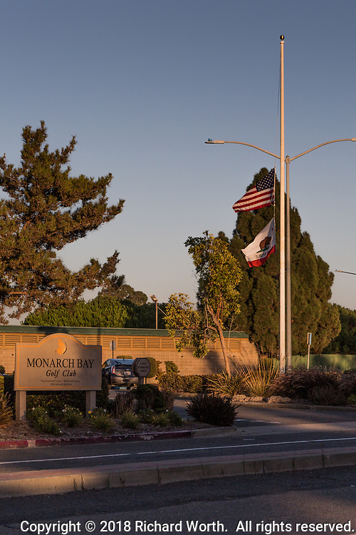 On the 17th anniversary of 9/11, flags at the Monarch Bay Gold Club fly at half mast.