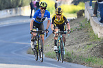 Race leader Adam Yates (GBR) Mitchelton-Scott and Primoz Roglic (SLO) Team Jumbo-Visma duke it out on the climb to Recanati during Stage 5 of the Race of the Two Seas, the 54th Tirreno-Adriatico 2019, running 180km from Colli al Matauro to Recanati, Italy. 17th March 2019.<br /> Picture: LaPresse/Fabio Ferrari | Cyclefile<br /> <br /> <br /> All photos usage must carry mandatory copyright credit (© Cyclefile | LaPresse/Fabio Ferrari)